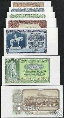 Tchécoslovaquie 1 2 5 10 20 50 100 100 Kronen 1943 Unc Monnaie Ensemble Complet