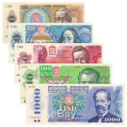 Tchécoslovaquie 5 Pcs Billets Collect 10-1000 Monnaie Koruna Réel Unc