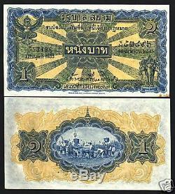 Thaïlande 1 Baht P16 B 1933 Roi Buffalo Procession Rare Unc Monnaie Argent Remarque