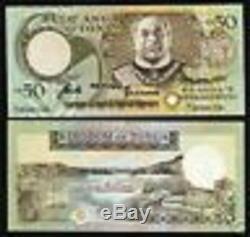 Tonga 50 Paanga P24 1989 Roi Bateau River Boat Unc Monnaie Argent Bill Billets De Banque