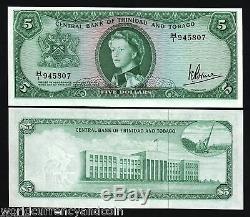 Trinité-et-tobago 5 Dollars P27c 1964 Queen Unc Crane Rare Money Note