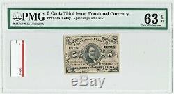 Troisième 3e Numéro 5c Pmg 63 Cents Epq Fr1236 Fractional Currency Cinq Red Back Unc