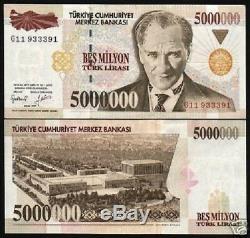 Turquie 5000000 Lira P210 1997 5 Millions De Mausolée Ataturk Unc Monnaie 10 Notes