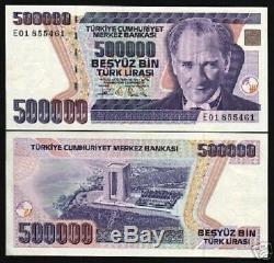 Turquie 500000 500000 Lira P-208 1993 X 100 Pcs Paquet Ataturk Monnaie Unc Note