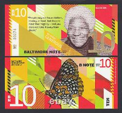 USA 2016 Local Currency Baltimore Note DIX (10 $) Bea Gaddy Unc