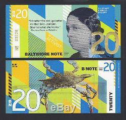 USA 2016 Monnaie Set Local 4 Pièces Baltimore Note 1, 5, 10 Et 20 Unc