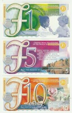 Uk Tewkesbury, Échantillon De 3 Billets De Banque, Prototype De Monnaie Locale, 1 5 10 Livres Unc