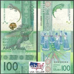 Unc 100 Aruba Florins Banknote USA Vendeur 2019 Rare Currency Afl