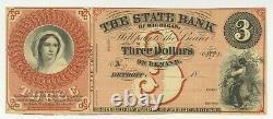 Unc 18xx $3 La Banque D'état De Michigan Restant Obsolète Devise Billets