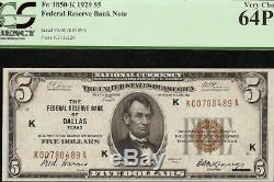 Unc 1929 Billet De 5 Dollars Frbn Dallas Fed Bank Note Monnaie En Dev 1850-k Pcgs 64 Ppq