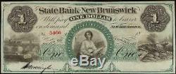 Unc 1 $ 1860s Projet De Loi Du Nouveau-brunswick En Dollars Note De La Banque Monnaie De L'argent Grand Papier Vieux