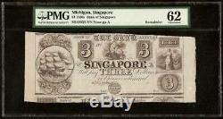 Unc $ 3 1830. Singapour Banque Dollar Michigan Note De Change Billets Pmg 62