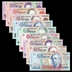 Uruguay 9 Pcs Billets Billets 1000-500000 Nuevos Pesos Monnaie Unc