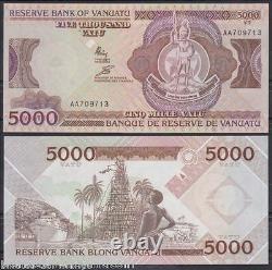 Vanuatu 5000 Vatu P7 1993 Navire Unc Aa Prefix Pacifique Monnaie Argent Bill Note