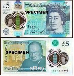 Véritable Banque De 5 Billet De Cinq Livres England Polymère Plastique 2016 Monnaie Unc