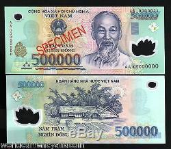Vietnam 500000 Dong P124 Spécimen Polymer Hcm Unc Billet De Billets De Monnaie