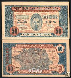 Vietnam 50 Dong P11 1947 Hcm Buffalo Rare Presque Unc Monnaie Money Bank Note