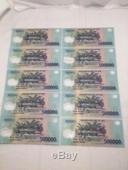 Vietnam Currency Banknote, Unc, 10 X 500 000 = 5 000 000, Livraison Gratuite, (v658)