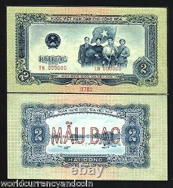 Vietnam Dong 2 P72 1958 Spécimen Bateau Drapeau Unc Monnaie Argent Bill Billets De Banque
