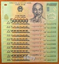 Vietnamien 10000000 Dong Unc 5 Millions (500000 X 10) Nouveau Vietnam Monnaie Vnd