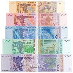 W Afrique Mali 5 Pcs Billets Collect 500-10000 France MLI Réel Monnaie Unc