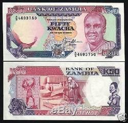 Zambie Afrique 50 Kwacha P33 1991 Papillon Zebra Unc Rare Monnaie Argent 10 Note