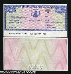 Zimbabwe 10000 Dollars P17 2003 Unc Chèque De Voyage Rare Monnaie Argent Banknote