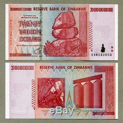Zimbabwe 100 50 20 10 Trillions De Dollars 2008 Série Complète Factures De Change Unc