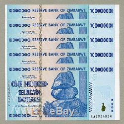 Zimbabwe 100 Billions De Dollars X 5 Pcs Aa 2008 P91 Factures De Change Unc Consécutives