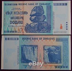 Zimbabwe 100 Milliards De Dollars En Devises 2008 Aa Unc + Billets De Banque Gratuits De 20 $