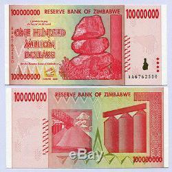 Zimbabwe 100 Millions De Dollars X 25pcs Aa 2008 P80 De Billets De Banque Unc Consécutifs