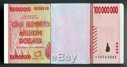 Zimbabwe 100 Millions De Dollars X 50 Pièces Aa 2008 P80 1/2 Liasse De Billets De Banque Unc