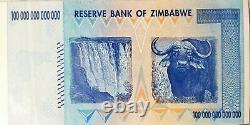 Zimbabwe 100 Trillion Aa 2008 P91 & 1 Dollar Aa 2007 P65 Factures En Devises De L'unc