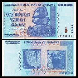 Zimbabwe 100 Trillion Dollars, Série Aa /2008, P-91, Unc, Monnaie Des Billets De Banque