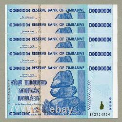 Zimbabwe 100 Trillion Dollars X 5 Pcs Aa 2008 P91 Factures Monétaires Consécutives Unc