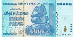 Zimbabwe 100 Trillion Dollars X 5 Pcs Aa 2008 P91 Notes De Change Consécutives Unc