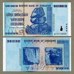 Zimbabwe 100 Trillions De Dollars En 2008 Et 1 Dollar En 2007 P91 P65 Billets De Banque Unc