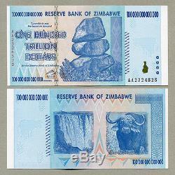 Zimbabwe 100 Trillions De Dollars X 10 Pièces Aa 2008 P91 Factures De Monnaie Unc Consécutives