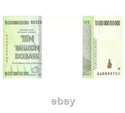 Zimbabwé 10 Billions De Dollars X 100 Pcs Aa 2008 P88 Vf Unc Portefeuille De Bons De Change