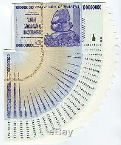 Zimbabwe 10 Milliards De Dollars X 25 Pcs 2008 P85 Consécutifs De Billets De Banque Unc