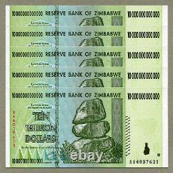 Zimbabwe 10 Trillion Dollars X 5 Pcs Aa 2008 P88 Factures Monétaires Consécutives Unc