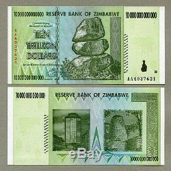 Zimbabwe 10 X 10 Billions De Dollars Pcs Aa 2008 P88 Billets De Banque Unc Consécutifs