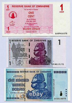 Zimbabwe 1 Cent, 1 Dollar & 100 Trillions De Dollars P33 P65 P91 Factures En Devises Des Nations Unies
