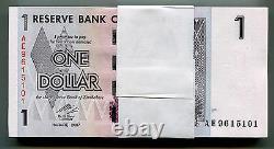 Zimbabwe 1 Dollar X 50 Pcs 2007 P65 1/2 Paquet De Billets De Change Consécutifs Unc