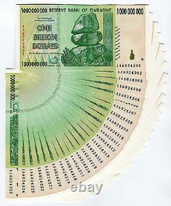 Zimbabwe 1 Milliard De Dollars X 25 Pcs Aa 2008 P83 Billets De Change Consécutifs Unc