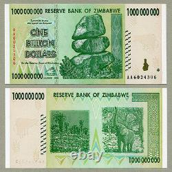 Zimbabwe 1 Milliard De Dollars X 5 Pcs Aa 2008 P83 Billets De Change Consécutifs Unc