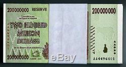 Zimbabwe 200 Millions De Dollars X 100pcs Aa2008 P81 Bundle Monnaie Unc Consécutive