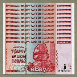 Zimbabwe 20 Billions De Dollars X 10 Pièces Aa 2008 P89 Factures De Change Unc Consécutives