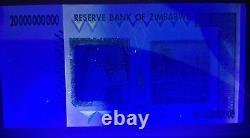 Zimbabwe 20 Milliards Aa 2008 Devise Unc Note 1/2 Bundle X 50 Billets De Banque Argent