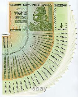 Zimbabwe 20 Milliards De Dollars X 25 Pcs Aa 2008 P86 Billets De Change Consécutifs Unc